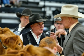 Vernon Davidson with Judge Trent Liebreich at the 2019 Canadian Western Agribition.