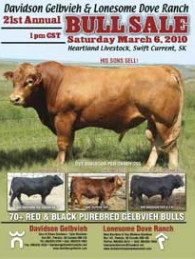 Click here to see the Davidson Gelbvieh 2010 Bull Sale catalogue.